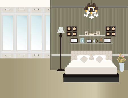 bedroom bed: Flat Design Double Bedroom, Bedroom interior, furniture interior Vector illustration.
