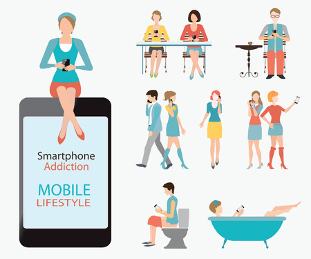 browsing: Smartphone addiction, mobile lifestyle , infographic element, Various cartoon character design, banner header, isolated on white , conceptual vector illustration.