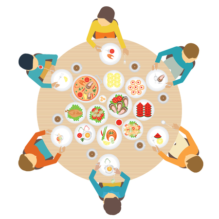 top menu: Catering party with people around  table of dishes from the menu, top view. Vector flat illustration.