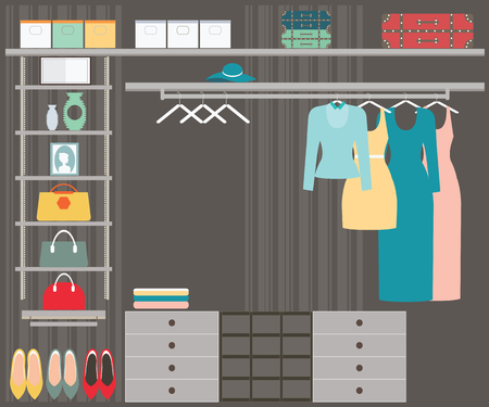 walk in closet: Flat Design walk in closet, interior design, conceptual Vector illustration.