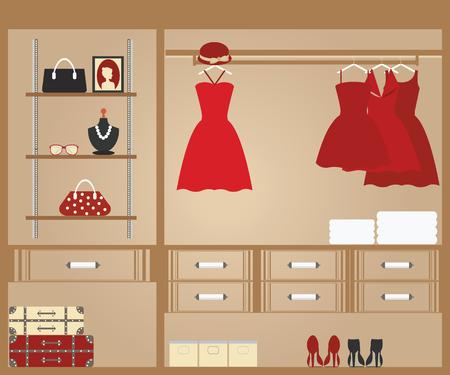 Мода: Плоский дизайн прогулка в шкаф, дизайн интерьера, концептуальные Векторные иллюстрации. Иллюстрация