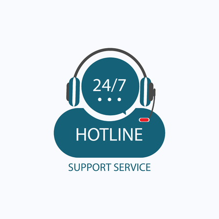 isolated: Hotline support with headphones, concept of telemarketing, professional, secretary, live feedback, nonstop service, flat style trend modern icon design, isolated on white background
