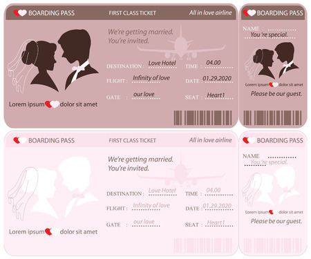 airplane ticket: Boarding Pass Ticket, conceptual Wedding Invitation Template