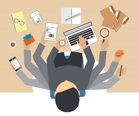 smart phone hand: Busy business people working hard on his desk in office with a lot of paper work, Business conceptual on hard working.