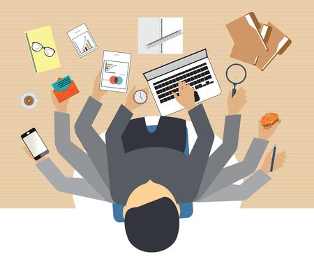 Drukke mensen uit het bedrijfsleven hard gewerkt aan zijn bureau in het kantoor met veel papierwerk, Business conceptuele op hard werken. Stock Illustratie