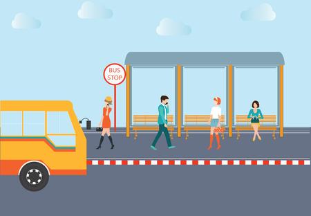 passenger buses: La gente espera de un autobús en la parada de autobús, ilustración conceptual.