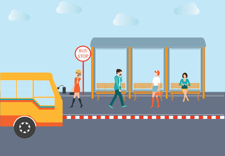wait: People waiting for a bus at the bus stop,conceptual illustration.