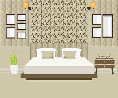 chamber pot: Flat Design Double Bedroom, Bedroom interior,conceptual illustration. Illustration