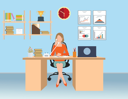 phone and call: Businesswoman talking on the phone in office, Interior office room, conceptual illustration.