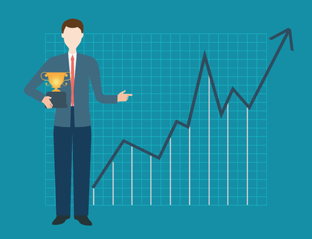 winner man: Businessman is holding trophy on the background of the upward chart, business conceptual illustration.