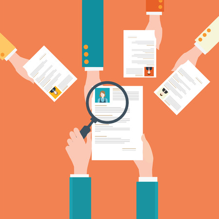 Magnifying glass searching cv or resume of candidates, business people, Human resources, conceptual illustration.