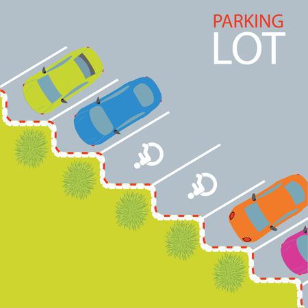 Parkplatz, Parkplatz, konzeptionelle Illustration.
