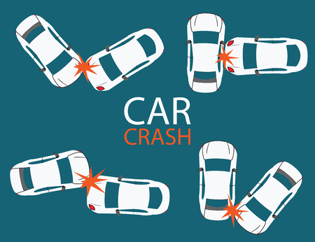 car crash: Set of Car crash and accidents, illustration. Stock Illustratie