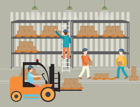 Workers of warehouse load boxes and pallet to stacks using forklifts, illustration.