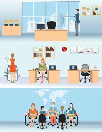 business meeting room: Businessman and woman in interior office building, various characters people, business team,  conceptual illustration. Illustration