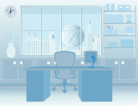 modern interieur: Modern Room Office interior, office building, with furniture, illustration.