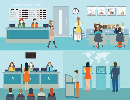 El acceso del público a los servicios financieros a los bancos, el interior del banco, escritorio contador, cajero, consultoría, que presentan, hacer cola para cajero automático, cambio de divisa, Banca ilustración del concepto.
