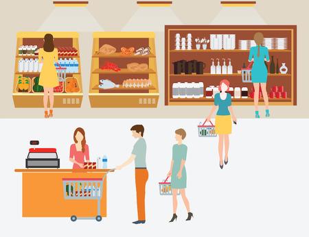 mujer en el supermercado: La gente en el supermercado tienda de comestibles con cestas de la compra de la línea para pagar para ir de compras aislado Ilustración.