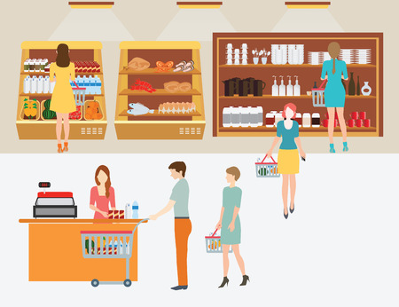 supermarket checkout: People in supermarket grocery store with shopping baskets for  line up to pay for shopping isolated illustration.