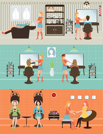 hair dresser: Customers in beauty salon with accessories about hair cut, people conceptual illustration. Illustration