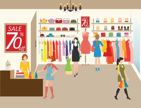 Kobiety zakupy w sklepie z ubraniami, Zakupy moda, torebki, buty, akcesoria na sprzedaż. Płaski ilustracji wektorowych stylu.