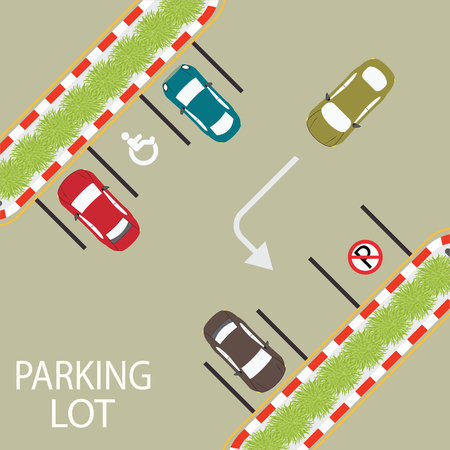 car road: Car park, parking lot , parking zone conceptual Vector Illustration.