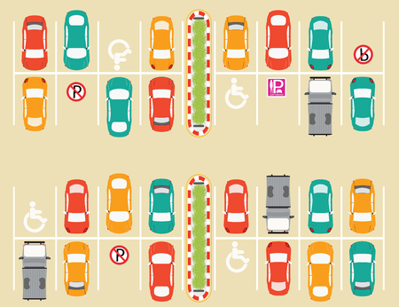 PARKING LOT: Car park, parking lot , parking zone conceptual Vector Illustration.