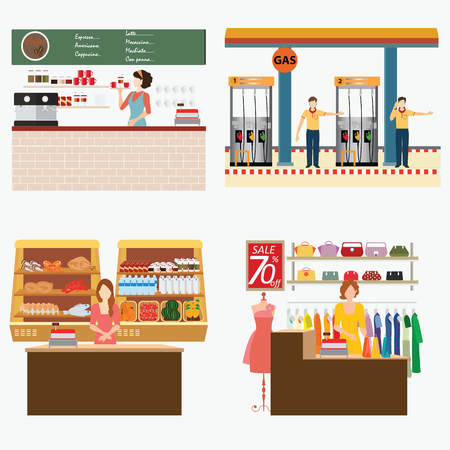 supermarket services: Supermarket, coffee shop, oil station and clothing shop with customer services isolated on white, conceptual vector illustration.