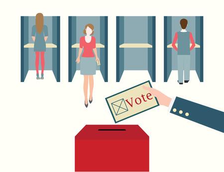 encuestando: Cabinas de votaci�n con los hombres y mujeres de emitir su voto en una mesa electoral, votaci�n secreta con la caja, ilustraci�n vectorial. Vectores
