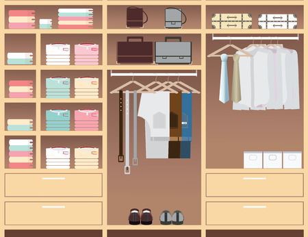 closet: Flat Design walk in closet, interior design, Clothing store, Boutique indoor of mens cloths., conceptual Vector illustration.