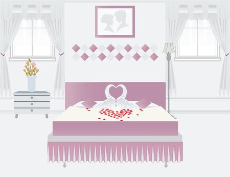 marriage bed: Flat Design Sweet Double Bedroom, Bedroom interior with romantic towel swans , conceptual Vector illustration.