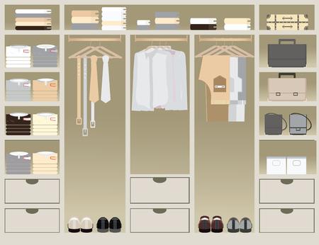 walk in closet: Flat Design walk in closet, interior design, Clothing store, Boutique indoor of mens cloths., conceptual Vector illustration.