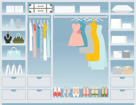 Flat Design walk in closet, interior design, Clothing store, Boutique indoor, conceptual Vector illustration. 向量圖像