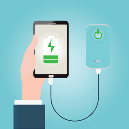 Human hand holding smartphone charging connect to power bank, conceptual vector illustration