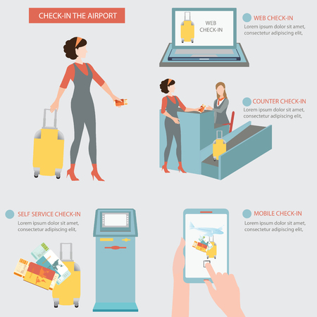 counter service: Woman check-in at the airport with counter check in ,self service check in, web check in, mobile check in , business travel conceptual vector illustration.