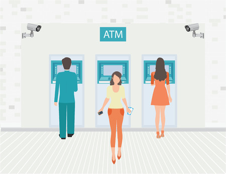 Payment options banking finance money, Businessman and woman doing ATM machine money deposit or withdrawal, conceptual vector illustration.