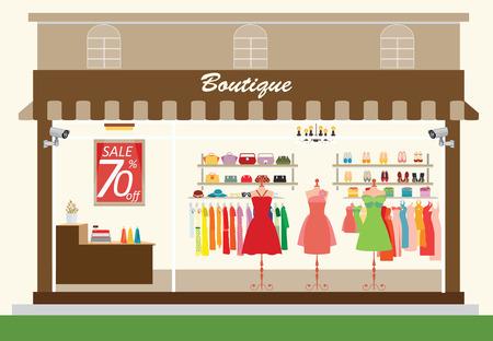 tienda de ropa: edificio de la tienda de ropa interior y con los productos en los estantes, tiendas de moda, bolsos, zapatos, accesorios a la venta, ilustración vectorial de compras.