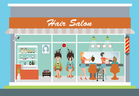 long hair: Hair salon building and interior with customer, hairdresser, barber, hair style, hair cut, hair care, hair fashion model,vector illustration.