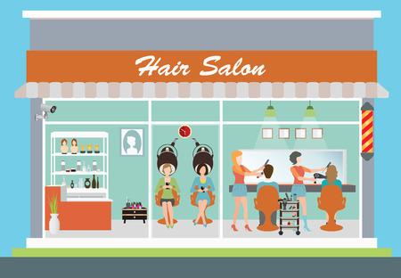 Kapsalon gebouw en het interieur met de klant, kapper, kapper, kapsel, haar besnoeiing, haar zorg, haar fashion model, vector illustratie.