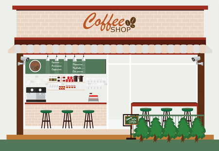 house building: Coffee shop building and interior, coffee bar, vector illustration.