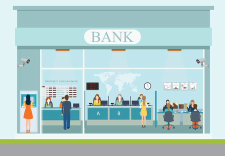 Bank building exterior and bank interior Stock Vector - 49813653
