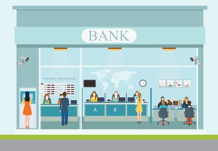 budynek z zewnątrz i wewnątrz banku bankowy Ilustracje wektorowe