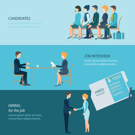 Recruitment flat banner set with candidates, job interview, hired the job, business people, human resources, conceptual vector illustration. Stock Illustratie