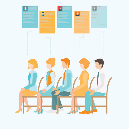 candidates: Job Recruitment flat banner set with candidates, job interview, human resources, job search conceptual vector illustration. Illustration