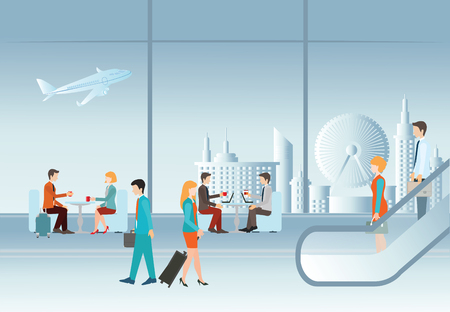 Business people in airport terminal. travel concept,Traveler and departure, transportation passenger, luggage and baggage, journey vector illustration.