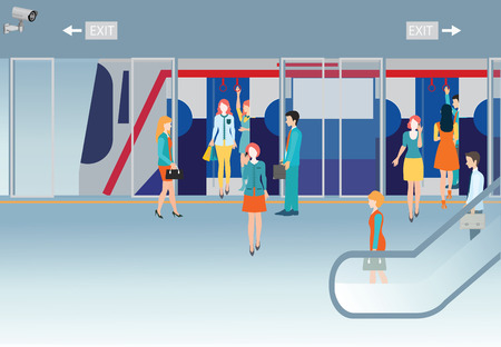 people traveling: Subway train station platform with people traveling, holding smartphone, transport concepual vector illustration. Illustration