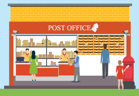 post office building: Building exterior of post office, office workers, postmen, people, interior, counter service, vector illustration.