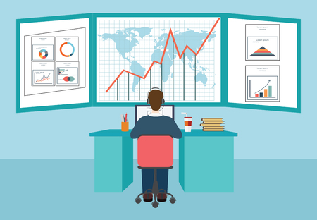Web analytics, information and development, business statistic, conceptual vector illustration.