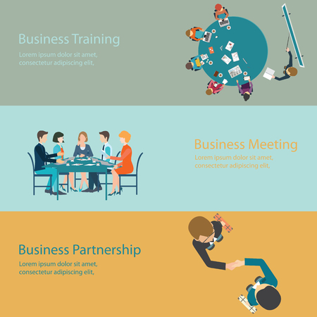 customer focus: Infographic of Business meeting, office, teamwork, training, brainstorming, business partnership  in flat style, conceptual vector illustration.