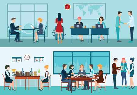 Business meeting, office, teamwork, planning, conference, brainstorming in flat style, conceptual vector illustration.